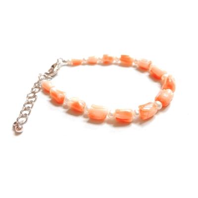 City Diamond引雅【手作設計系列 】天然粉紅珊瑚(花朵型) 珍珠手鍊