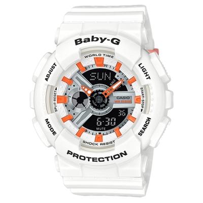 BABY-G時尚百搭系列透氣洞洞設計休閒錶(BA-110PP-7A2)白X黑面43.4mm