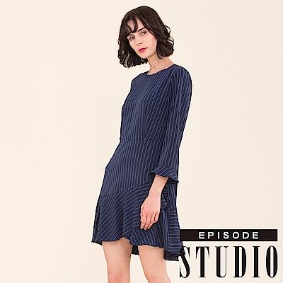 EPISODE Studio - 高雅條紋不規則設計洋裝(深藍)