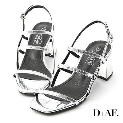 D+AF 酷夏推薦.三條帶中高跟涼鞋*銀