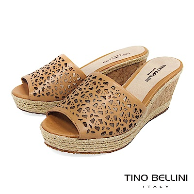 Tino Bellini 巴西進口鏤空藝術麻編楔型涼拖鞋 _ 棕