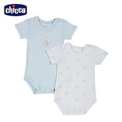 chicco-藍格熊-短袖連身衣二入-藍