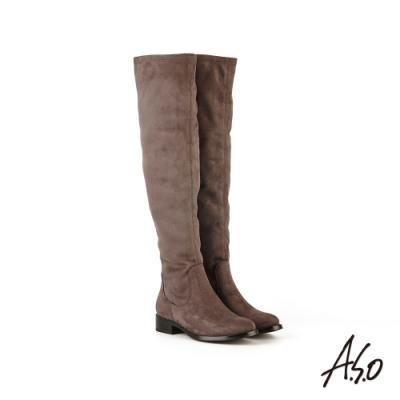 A.S.O 時尚流行彈力麂皮布料過膝靴-灰