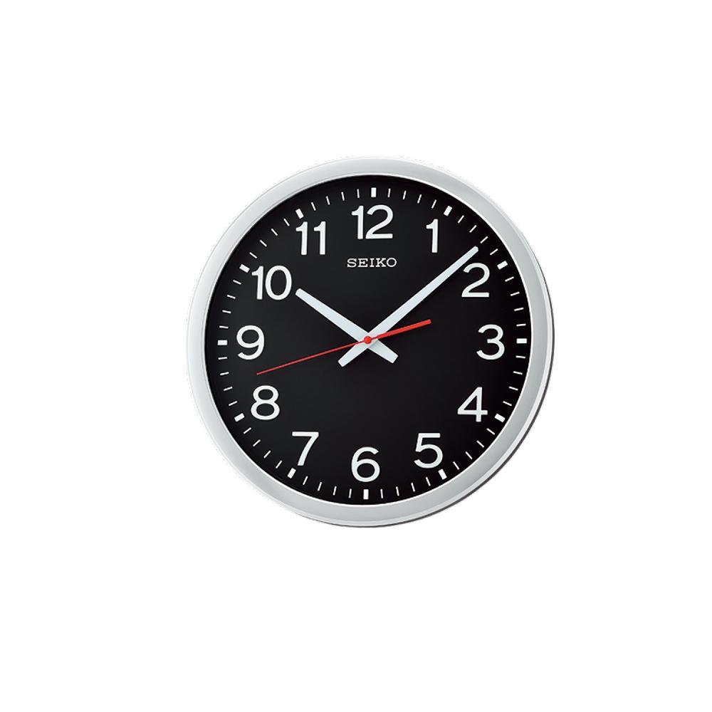 SEIKO 日本精工 滑動式秒針 靜音掛鐘(QXA732S)銀-黑/35cm