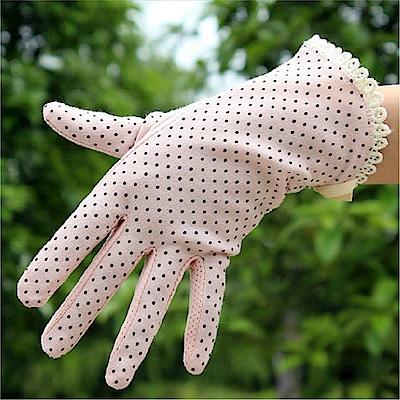 香草花園 點點蕾絲純棉防曬手套/防滑手套/護手套 修飾手型款