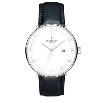 Nordgreen Philosopher 極夜黑真皮錶帶腕錶-40mm(PH40SILEBLXX)