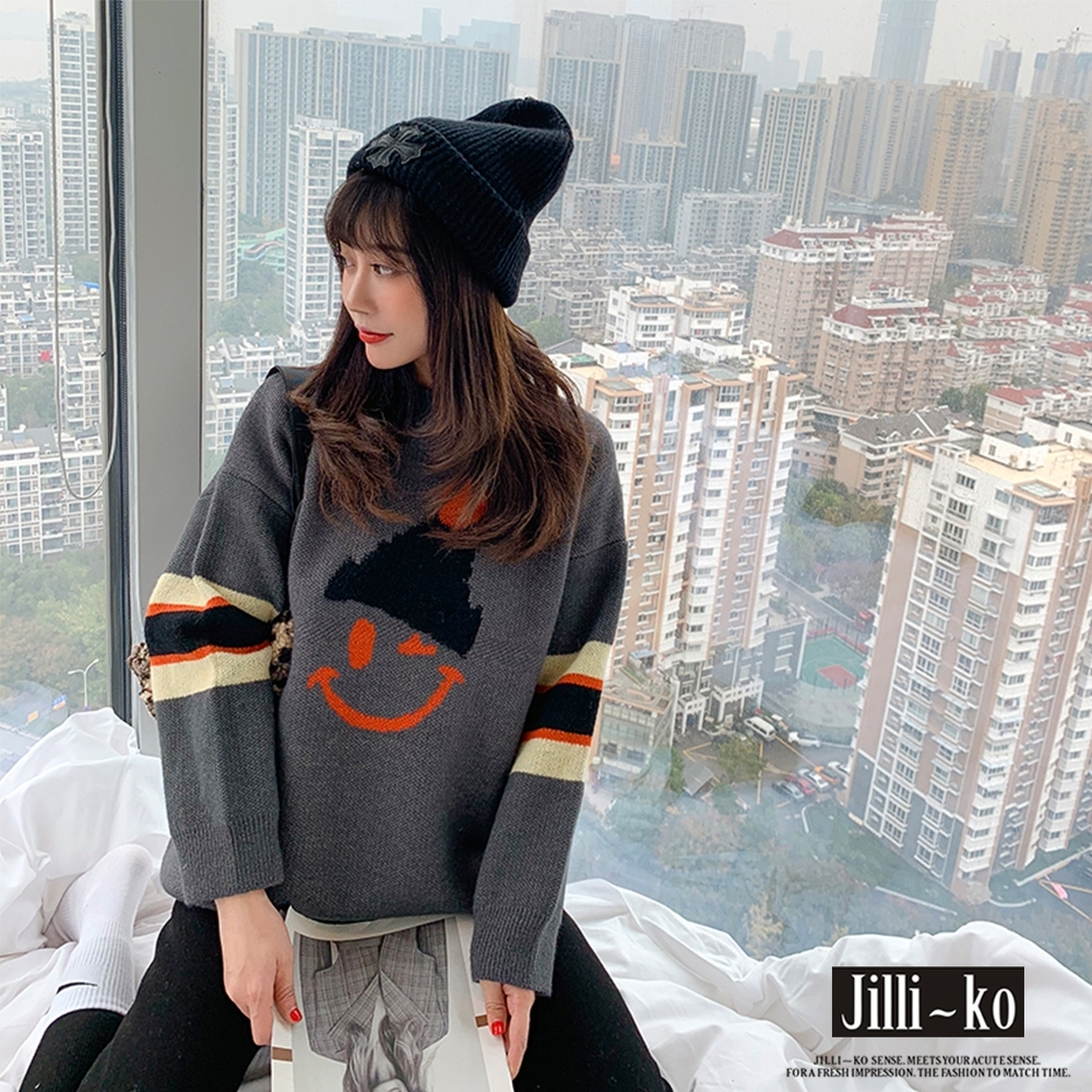 JILLI-KO 微笑臉拼色針織毛衣-灰/紅
