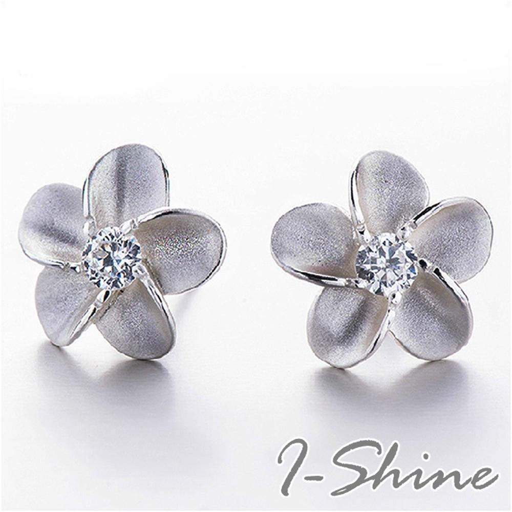 I-Shine-正白K-愛麗絲-幸福五花瓣花朵鑲鑽造型銀耳針耳環DB32