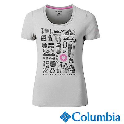 Columbia哥倫比亞 女款-快排短袖上衣-灰色 UAR11030GY