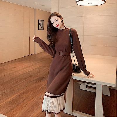 DABI 韓國風修身圓領網紗拼接下擺配腰帶長袖洋裝