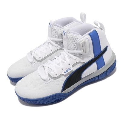 Puma 籃球鞋 Legacy MM 運動鞋 高筒 男鞋 輕量 高回彈 耐磨 透氣 白 藍 19404801