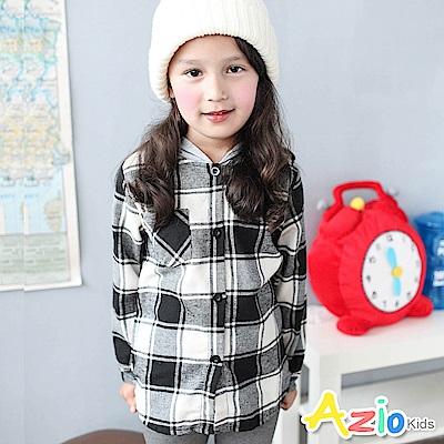 Azio Kids 上衣 單口袋下擺格子長版連帽長袖襯衫(灰)