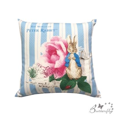 台製MIT-比得兔Peter Rabbit彼得兔經典系列抱枕-玫瑰-藍