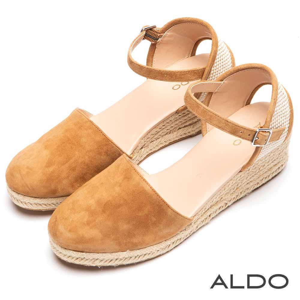 ALDO 原色麻花編織防水台繫踝小坡跟鞋~都會淺棕