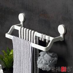 生活采家浴室強力無痕貼雙桿短毛巾工具架
