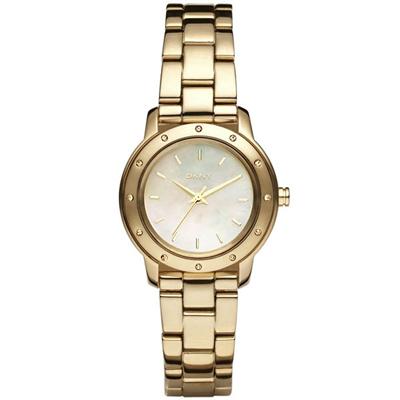 DKNY 迷戀珍珠貝晶鑽時尚腕錶(NY8226)-金