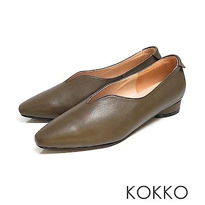 KOKKO - 永恆的期盼深V軟墊羊皮小方頭鞋 - 森林綠