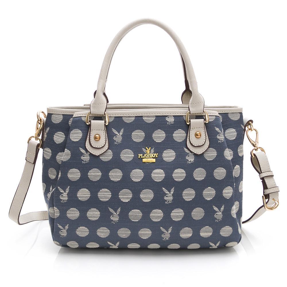 PLAYBOY- 手提包附長背帶  Denim Dots - 單寧點點系列 -藍色
