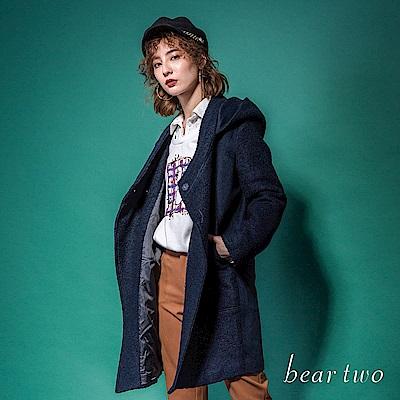 beartwo 素色毛呢連帽長版大衣外套(二色)