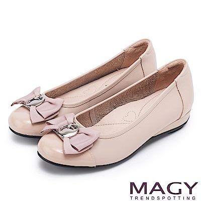 MAGY 氣質甜美女孩 造型五金牛皮平底娃娃鞋-粉紅
