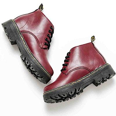 River&Moon經典綁帶縫線短筒馬丁靴-酒紅