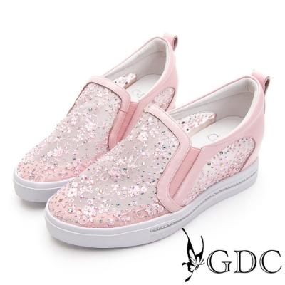 GDC-夢幻碎花水鑽蕾絲透膚春夏厚底休閒鞋-粉色