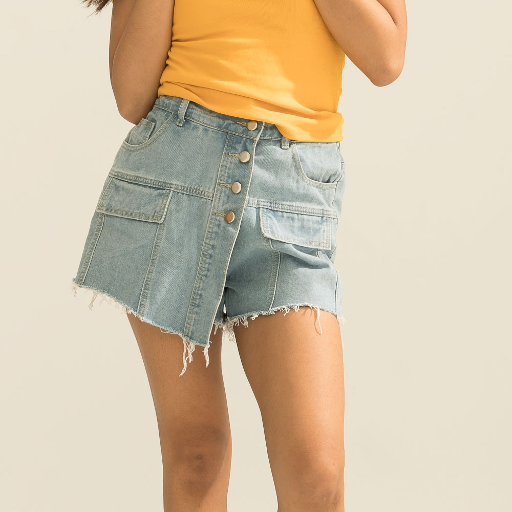 LAKING.GIRLS-超能裝鬆緊腰抽鬚牛仔褲裙