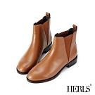 HERLS短靴-全真皮素面V型鬆緊切爾西圓頭粗跟短靴-焦糖棕