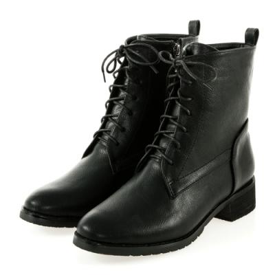JMS-個性魅力素面經典綁帶拉鍊短靴-黑色
