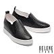 休閒鞋 HELENE SPARK 簡約率性沖孔全真皮內增高休閒鞋-黑 product thumbnail 1