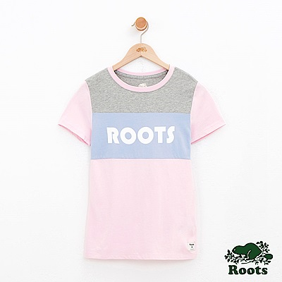 女裝Roots 色塊短袖T恤-粉