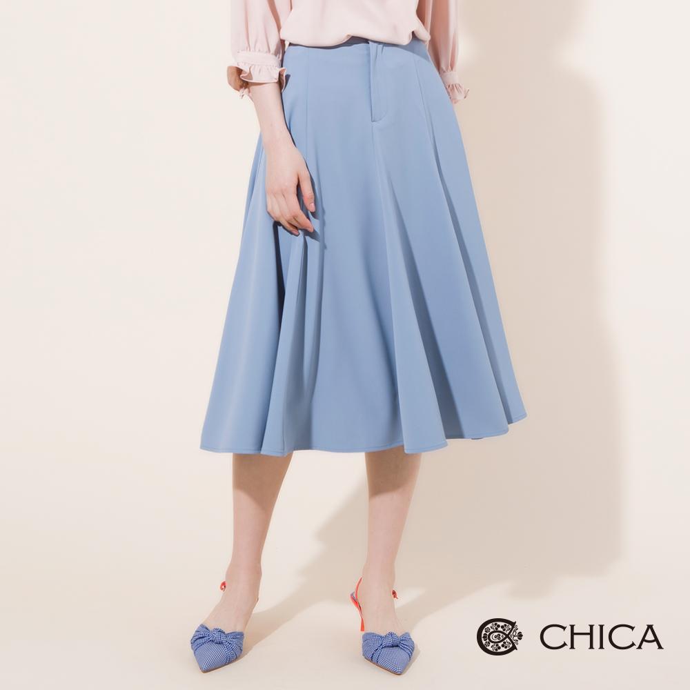 CHICA 飄逸美學傘襬剪裁高腰中長裙(2色)
