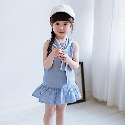 小衣衫童裝    俏麗可愛藍白條水手服背心裙1070417