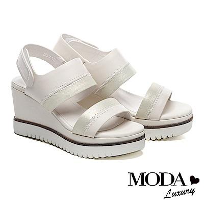 涼鞋 MODA Luxury 簡約率性一字帶異材質拼接楔型高跟涼鞋-米