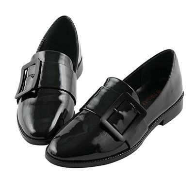 BESO 紳士品味 金屬大方釦樂福紳士鞋~黑
