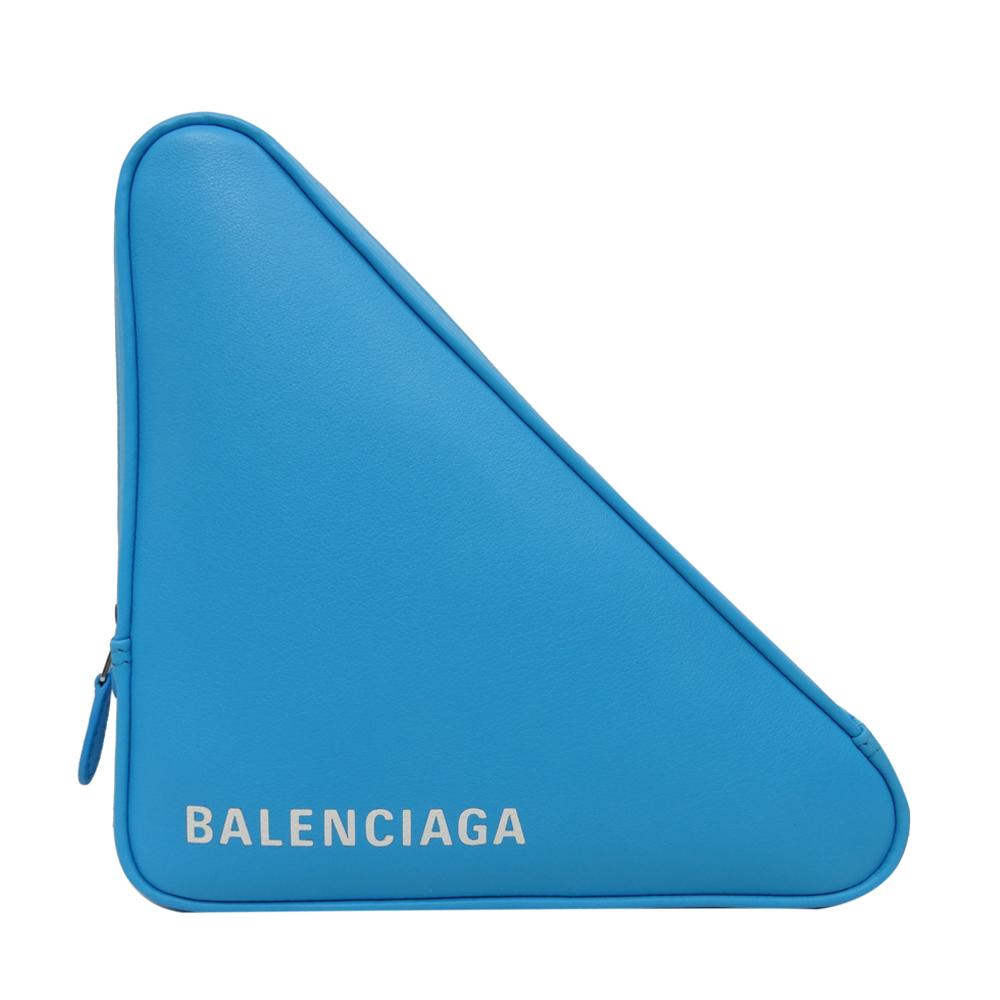 BALENCIAGA 小牛皮手拿收納包(藍色白字)BALENCIAGA