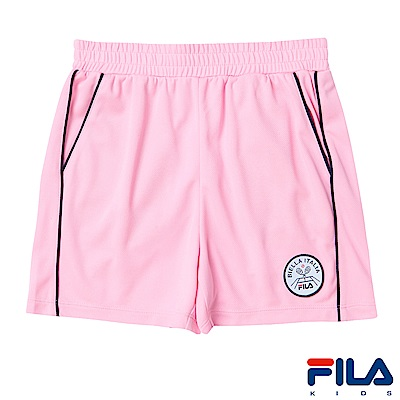 FILA KIDS 女童吸濕排汗短褲-粉紅 5SHS-4413-PK