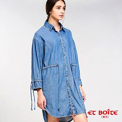 ETBOITE 箱子 BLUE WAY 牛仔綁帶長版襯衫