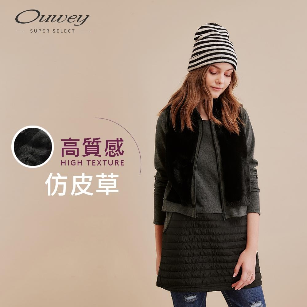 OUWEY歐薇 多層次仿皮草拼接假兩件洋裝(黑)