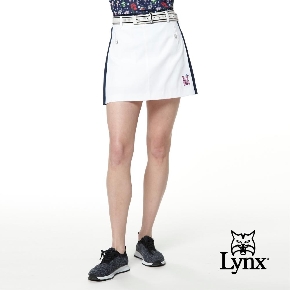 【Lynx Golf】女款日本進口布料高透濕防潑水側邊百摺設計造型口袋運動褲裙-白色