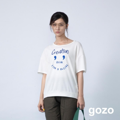 gozo 趣味表情圖案壓褶縮擺上衣(二色)