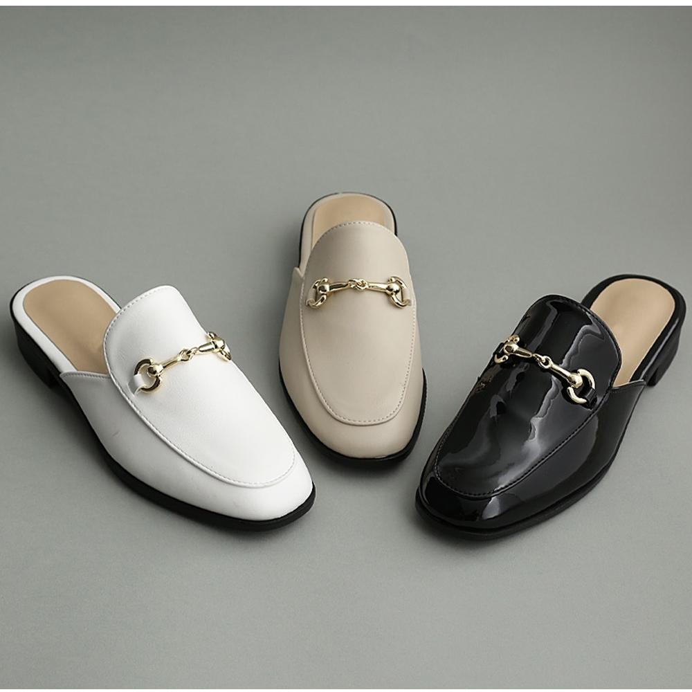 JACK-JILL-馬銜鍊穆勒低跟拖鞋-3色 product image 1