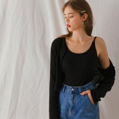 AIR SPACE LADY 慵懶直紋背心外套套裝(黑)