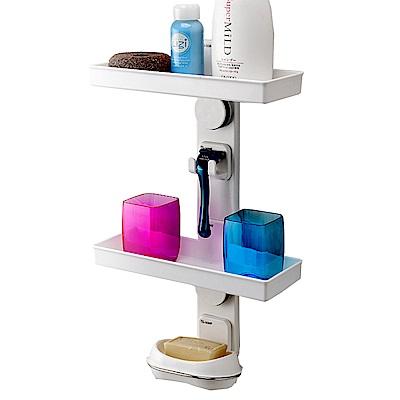 【FL生活+】多功能雙層衛浴專用置物架-強力吸盤式(SQ-1059)