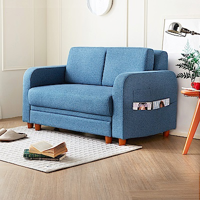 H&D 妃栗收納日式雙人+凳布沙發-藍色