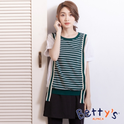 betty's貝蒂思 學院風條紋拼接T-shirt(深綠)