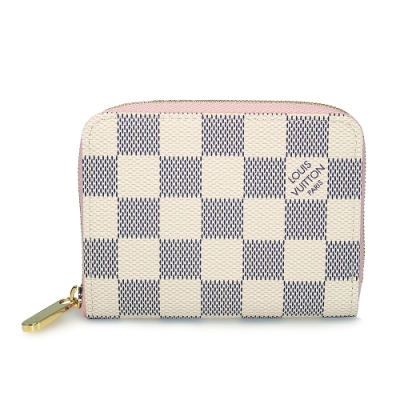 LV N60229 Damier 白棋盤格拉鍊零錢包(粉紅色)