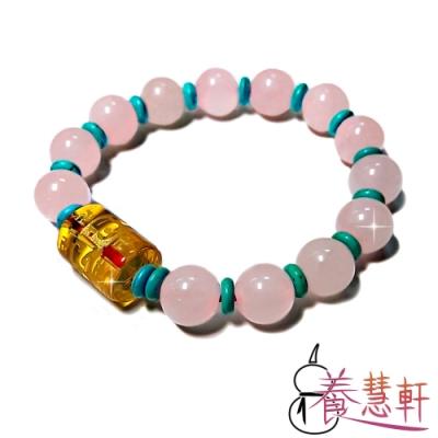 養慧軒 天然粉晶+琉璃+綠松 三寶圓珠手鍊(直徑10mm)