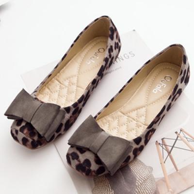 KEITH-WILL時尚鞋館 賣瘋了文藝豹紋豆豆鞋 灰