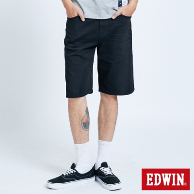 EDWIN JERSEYS 迦績 EJ3 涼感 復古棉 休閒短褲-男-黑色